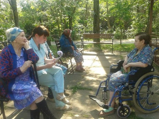 Irina, our new assistant, sings with grannies