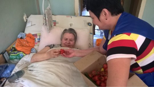 Our nurses hand out tomatoes harvest in Rzhev