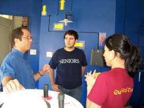 Discussing with solar engineer Jorge Calderon