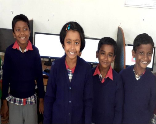 At delight with friends in School Computer Room