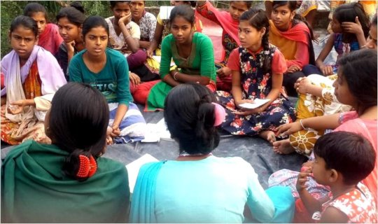 Health Workers Interacting with Adolescent Girls