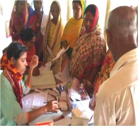 Senior Citizens at que for Medicines
