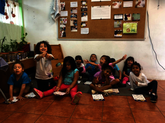 Geometric figures playing bingo