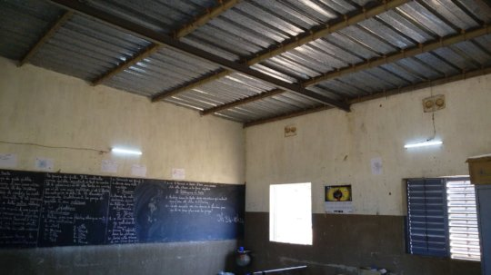 Inside of classroom showing the solar light