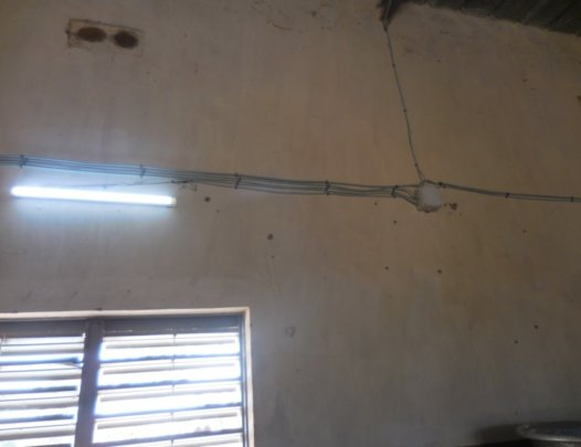 Solar-powered light at school in Djomga