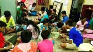 Children busy during a craft making workshop