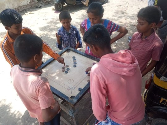 This group of children are enjoying their game of