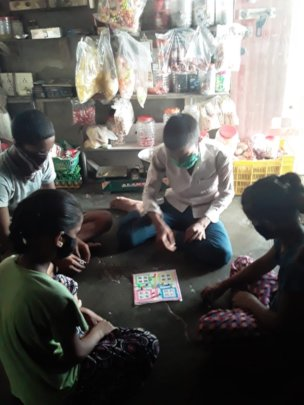 Reena and her friends enjoy ludo at their home cum