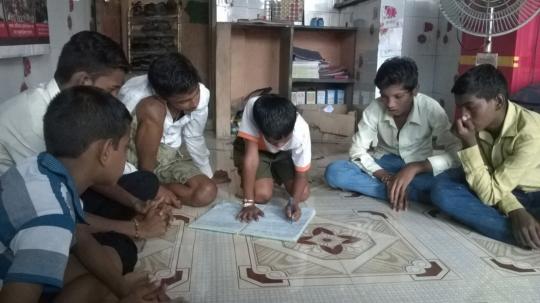Prakash educating his peers about tobacco