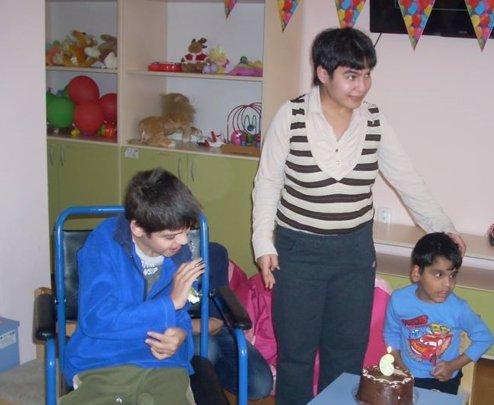 Sashko and his sister at the birthday of a friend