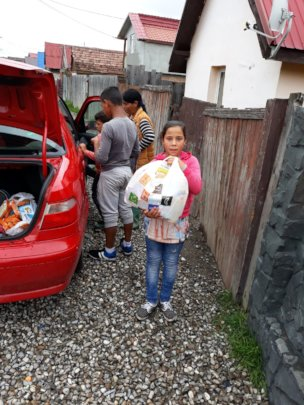 Distribution of food to the families