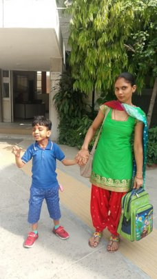 Purav with his mother
