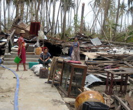 A house destroyed by the cyclone
