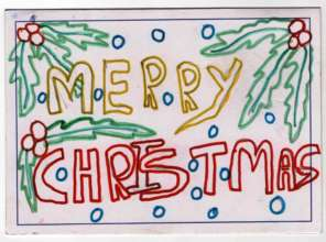 Christmas card from a child in Day Care Shelter