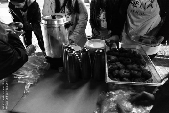 Offering food and hot tea to those in need