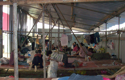 A temporary shelter in Mianyang