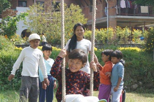 Anjana on the Swing at Ama Ghar