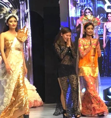Srijana with her designs as a Rising Star