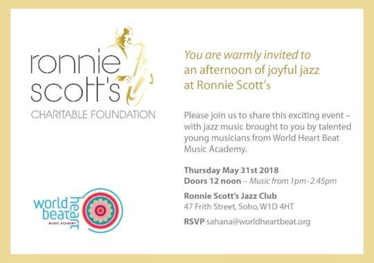 Invitation to Ronnie Scott's Jazz Concert