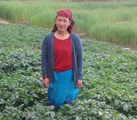 Lalika in her own vegetable field
