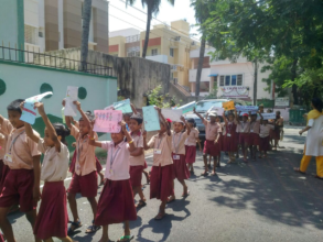Students participating in awareness drive