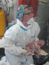 Midwife Giusy and newborn Francesca Marina