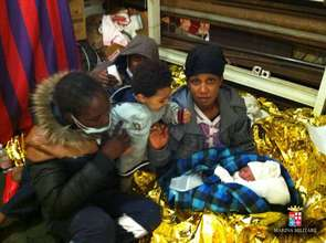 Baby born on board ship Etna, Sicily Channel.