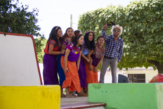 Young actors during theater performance