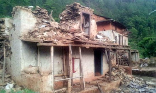 Home destroyed by the quake
