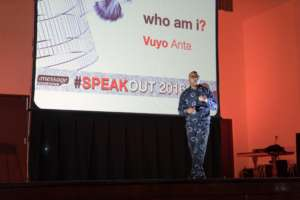 Vuyo speaking at our recent Speak Out Event