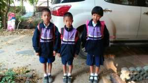 Children in their new outfits