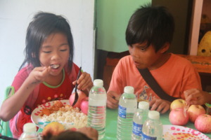 A Matigsalog girl savors the meal in great apetite