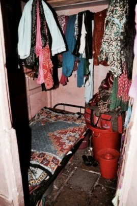 Small room in a brothel where girls are exploited
