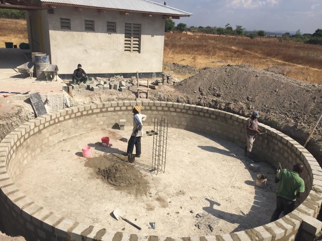 Rainwater catchment cistern under construction.
