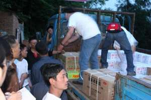 ActionAid staff distribute relief materials in Cif