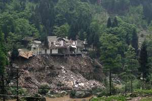 Building destroyed by earthquake, Longmenshan town