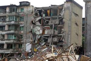 A building destroyed by earthquake, Baiwang townsh