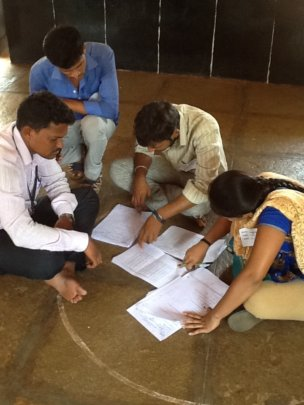 Youth volunteers, correcting the question papers