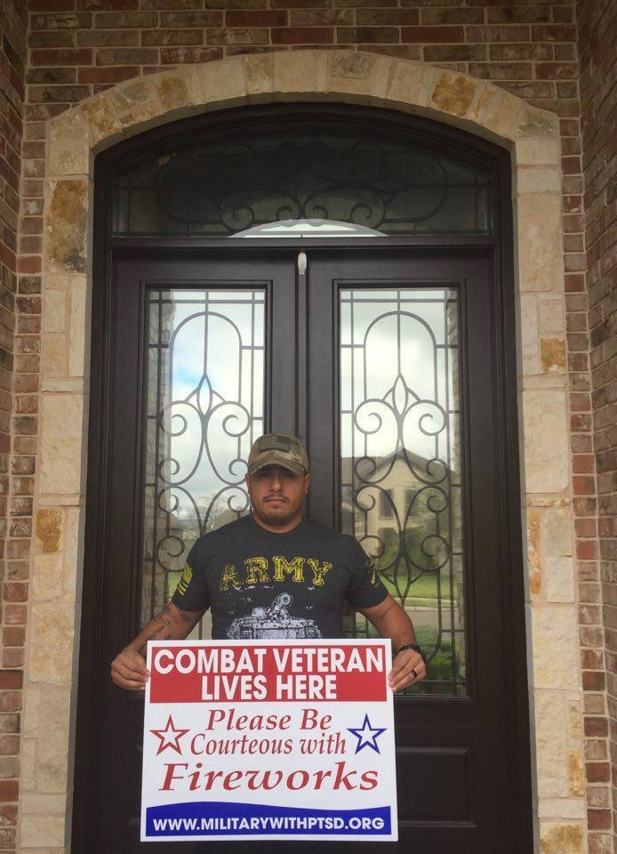 SGT who received veteran firework sign