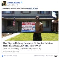 Ashton Kutcher's support for veterans.