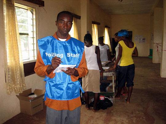 Polling staff in Monrovia - copyright IFES