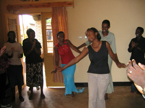 Students dance in a group house in Butare!