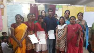 Children in Bangalore receiving scholarships
