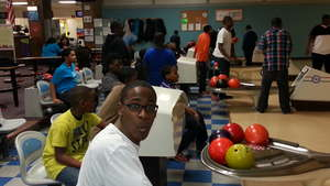 Having fun at the bowling alley