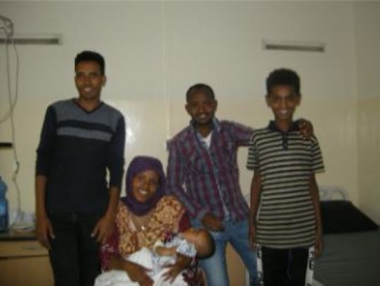 Adere's family in the hospital