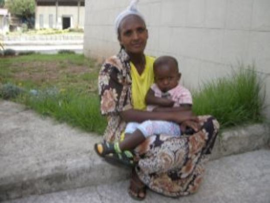 Jawar and his mom in the hospital compound