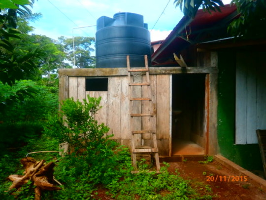New water tank installed with restrooms below