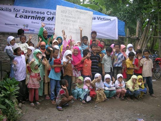 Children of earthqauke victims in Bantul