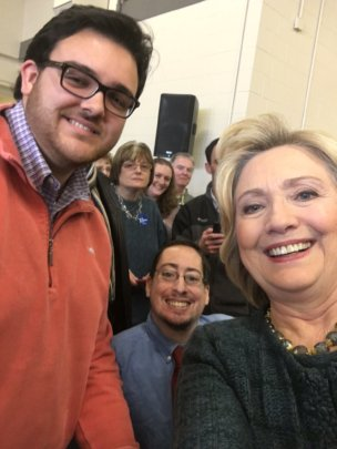 Team members with Hillary Clinton