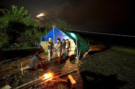 Base camp at night. Pic Ishaan Raghunandan